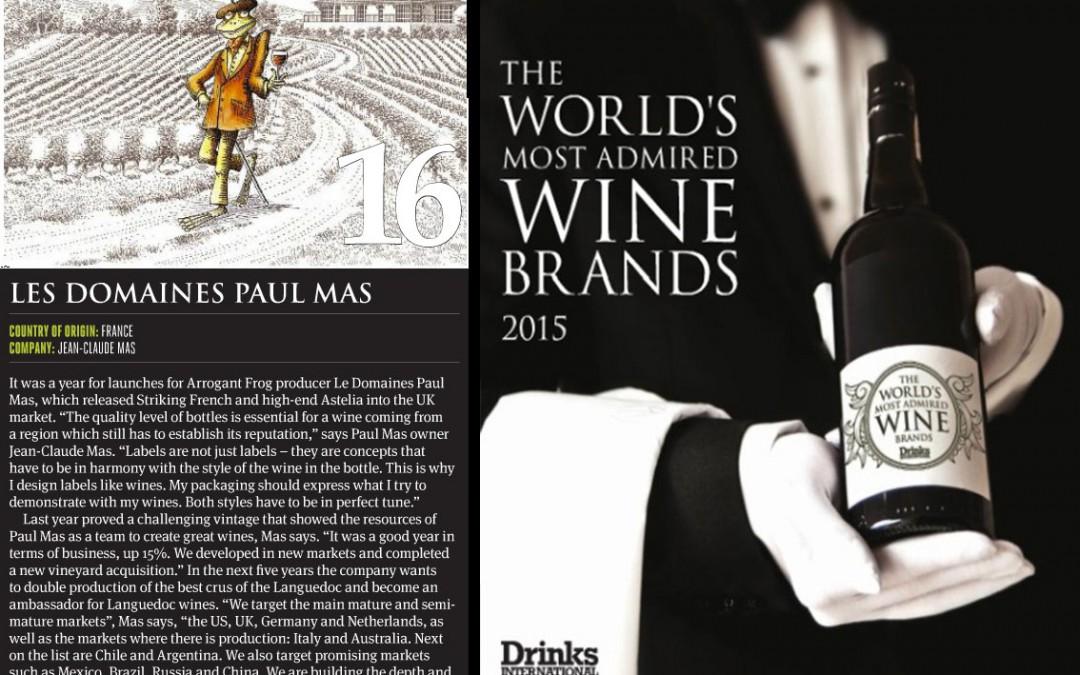 Paul Mas atteint la 16ème position de marque de vin la plus admirée au Monde par Drinks International