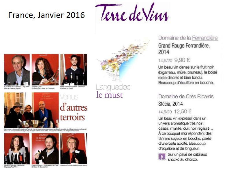 Terre de Vins, le Must du Languedoc avec les vins Stecia Crès Ricards et le grand rouge château La Ferrandière