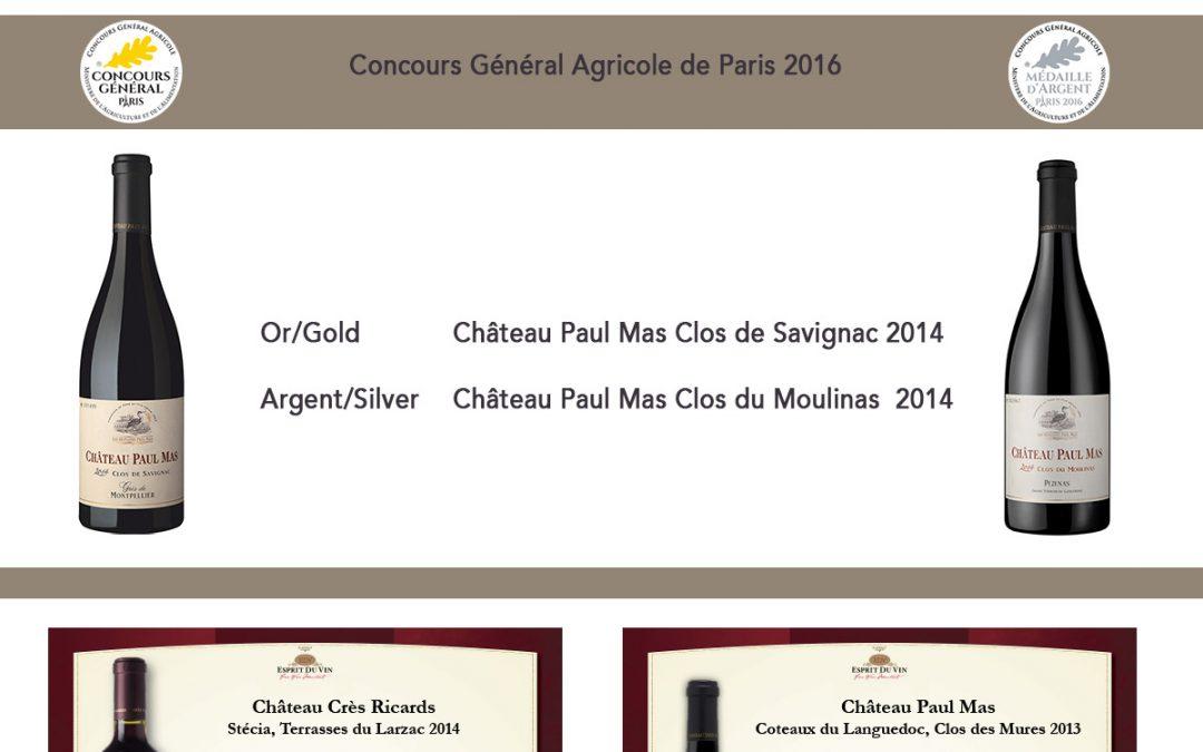 Les plus belles médailles 2016 by Decanter – Wine&Spirits – Mundus Vini – Concours de Paris