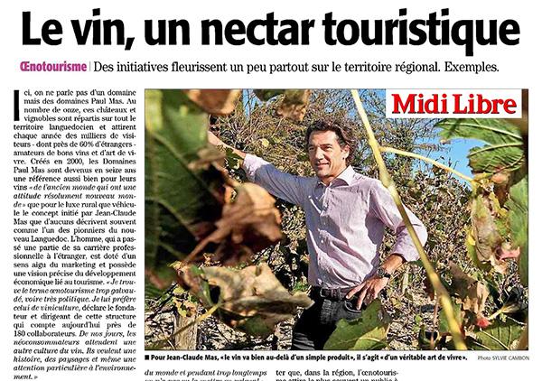 L'Oenotourisme vu par Jean Claude Mas dans le Journal Midi Libre