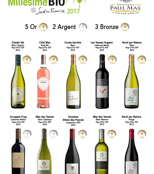 Domaines Paul Mas Wines : 10 Medals at Challenge BIO 2017