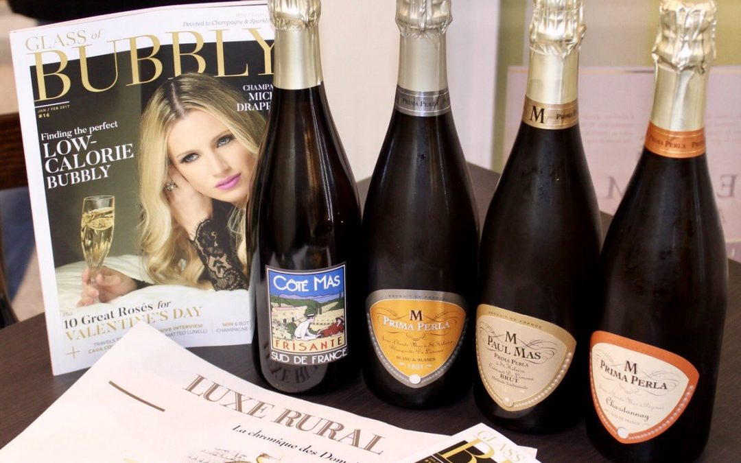 Glass of Bubbly at Vinisud tasting Sparkling Paul Mas Wines