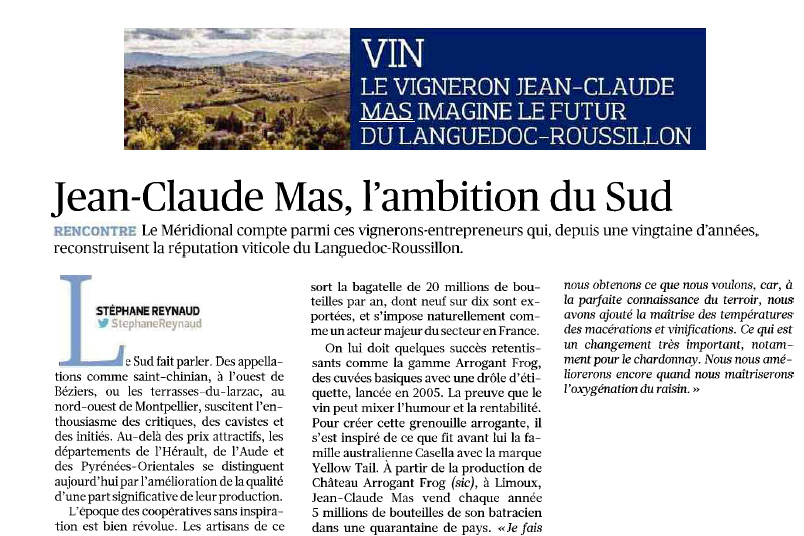 Article Le Figaro : Jean Claude Mas l'ambition du Sud
