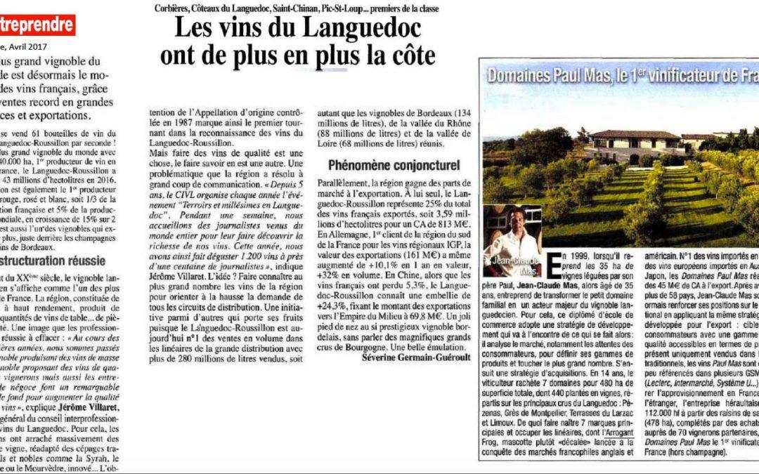 Magazine L'Entreprendre : Les Domaines Paul Mas 1er vinificateur de France