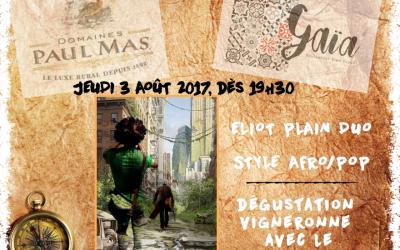 Dîner Concert au Bistrogourmand Gaia à Narbonne avec Eliot Plain Duo