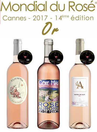 3 médailles d'Or au concours mondial du rosé Cannes 2017