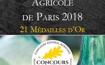 21 Médailles d'Or au Concours Générale Agricole de Paris