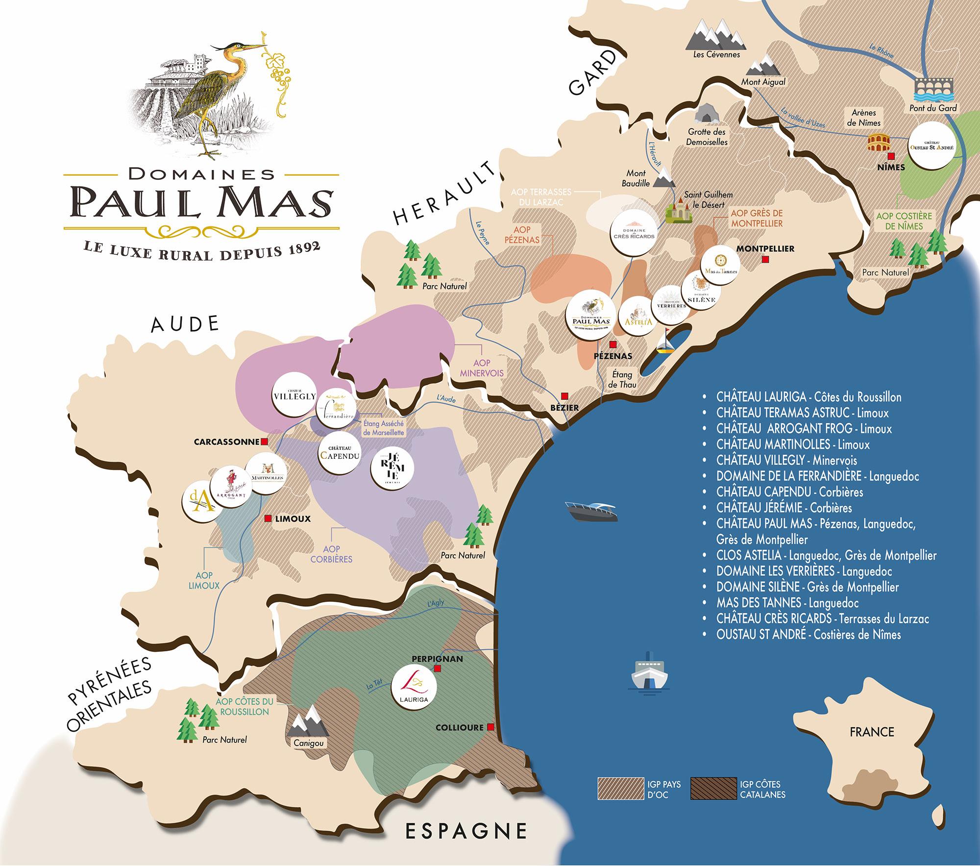 Carte des Domaines Paul Mas en Languedoc
